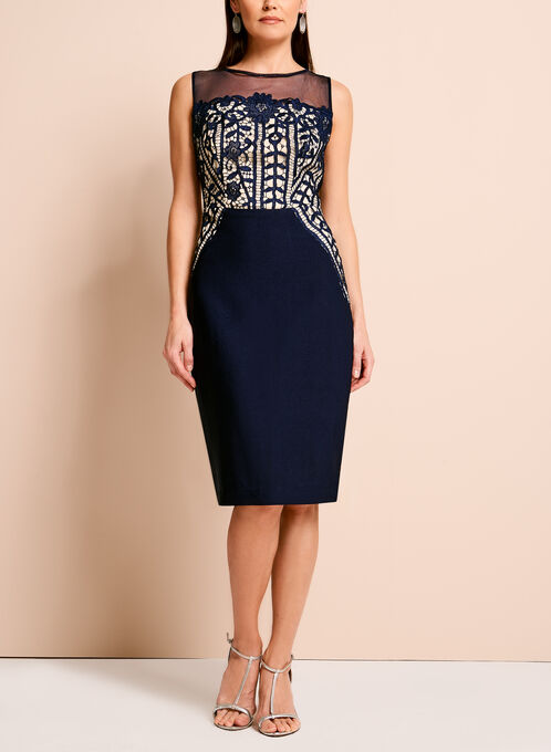 Jax Contrast Lace Bodice Dress, Blue, hi-res