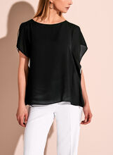 Contrast Double Layer Boat Neck Top, , hi-res