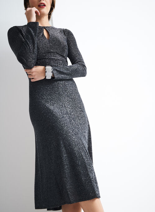 Maggy London Metallic Knit Dress, Silver, hi-res
