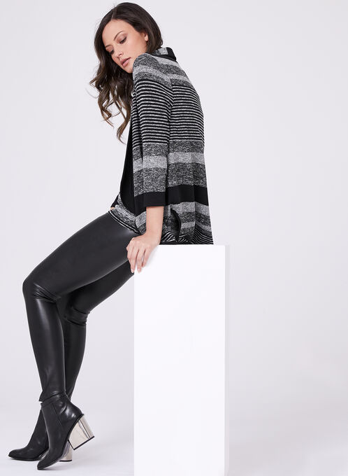 Frank Lyman - Stripe Knit Open Front Cardigan, Black, hi-res