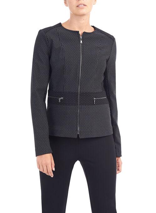 Double-Faced Knit Jacket, Black, hi-res