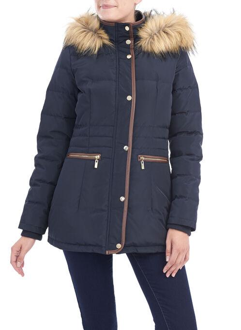 Faux Fur Down Coat , Blue, hi-res