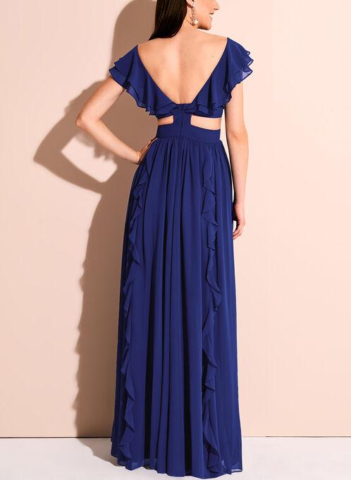 Chiffon Ruffle Trim V-Neck Gown, Blue, hi-res