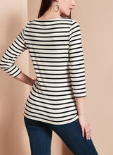 3/4 Sleeve Stripe Print Top , White, hi-res