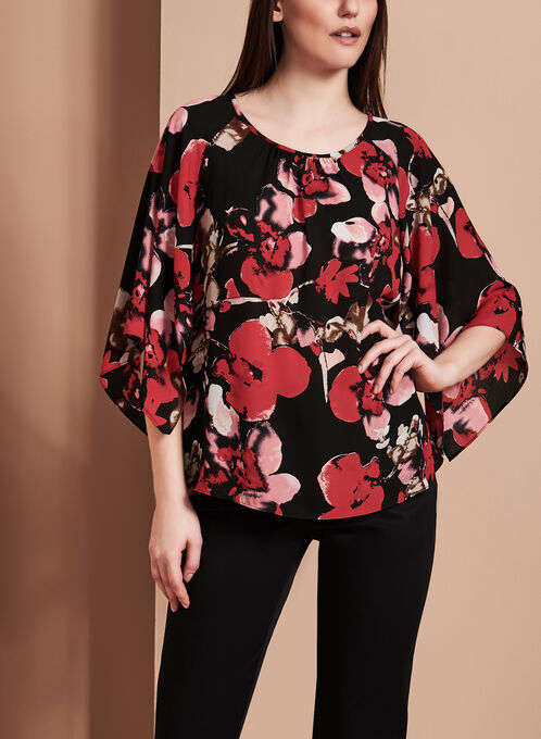 Blouse à fleurs manches amples, Rouge, hi-res