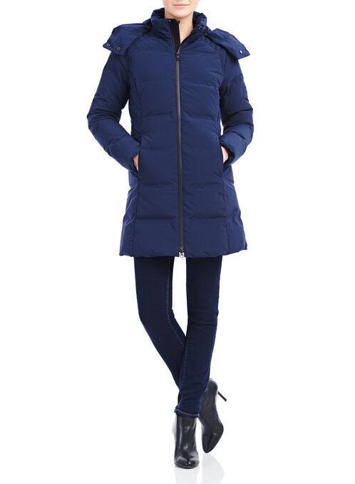 Mesh Detail Down Coat , Blue, hi-res