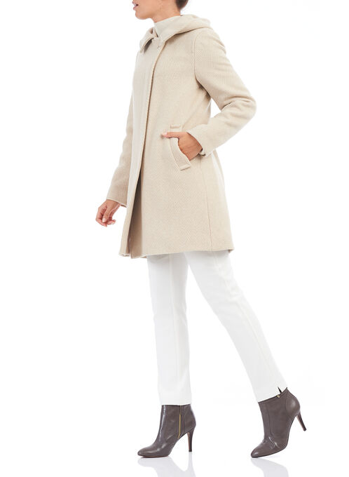 Mallia Asymmetric Wool Coat , Off White, hi-res