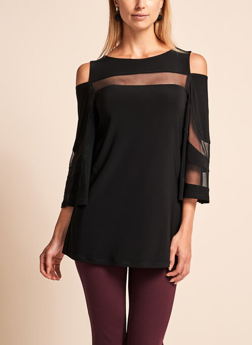 Frank Lyman - Mesh Trim Cold Shoulder Top, Black, hi-res