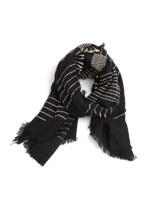 Foulard pashmina à points de couture contrastants, Noir, hi-res