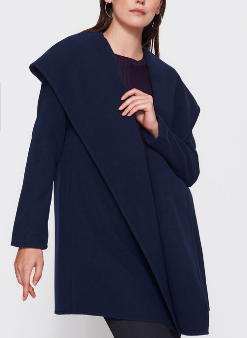 Open Front Hooded Coat, Blue, hi-res
