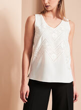 Sleeveless V-Neck Embroidered Blouse, , hi-res