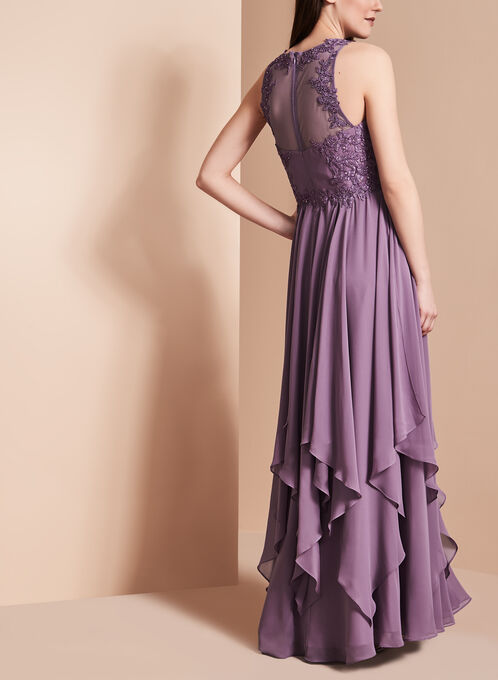 Beaded Handkerchief Hem Gown, Purple, hi-res