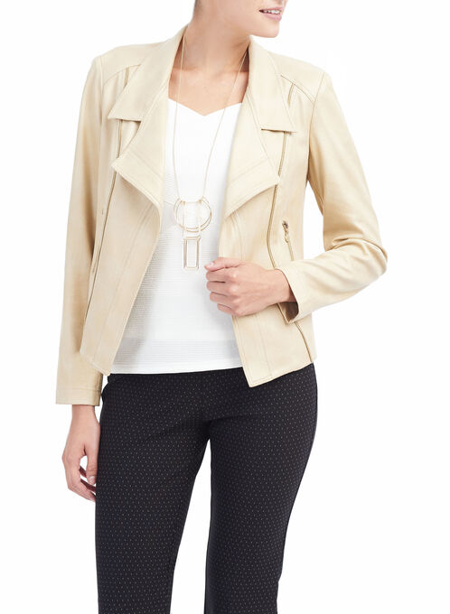Vex Faux Leather Jacket, Off White, hi-res