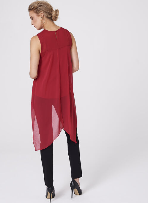 Sleeveless Chiffon High-Low Blouse, Red, hi-res