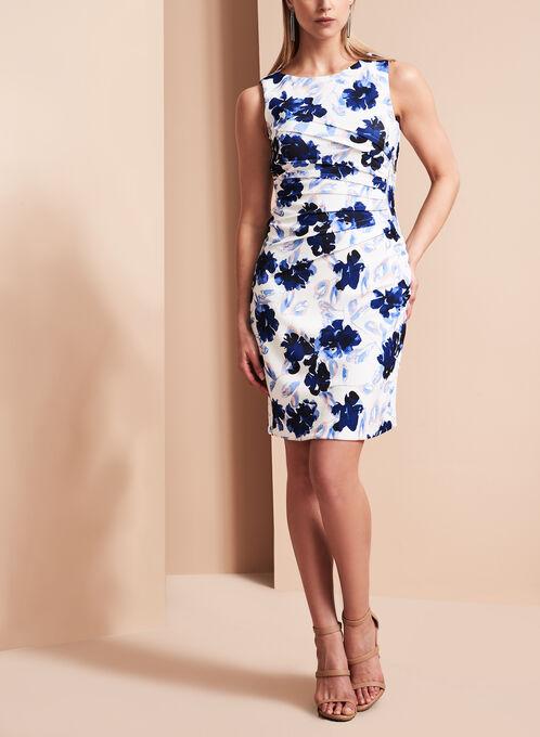 Ivanka Trump - Robe texturée & plissée à fleurs, Multi, hi-res