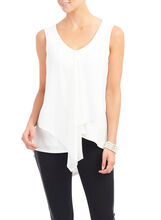 Chiffon Peaked Front Tunic Top, Off White, hi-res