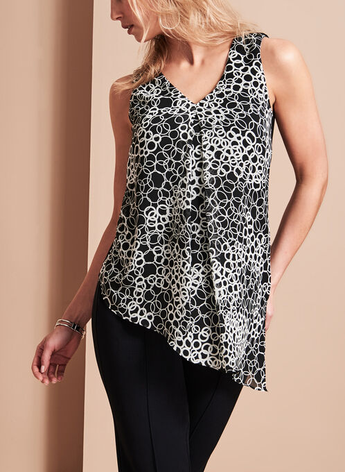 Geometric Print Asymmetric Top, Black, hi-res