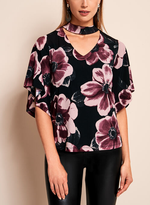 Floral Bell Sleeve Choker Top, Black, hi-res