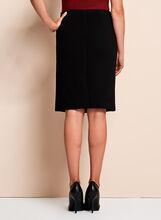 Faux Leather Trim Ponte Pencil Skirt, Black, hi-res