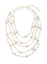 Multi Row Pearl Necklace, Off White, hi-res