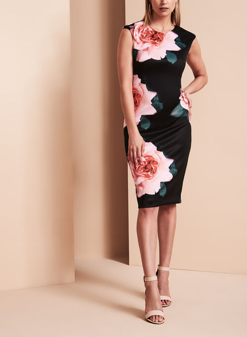 Tahari Floral Print Scuba Sheath Dress, Multi, hi-res