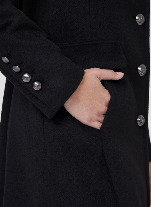 Novelti - Notch Collar Wool Blend Coat, Black, hi-res
