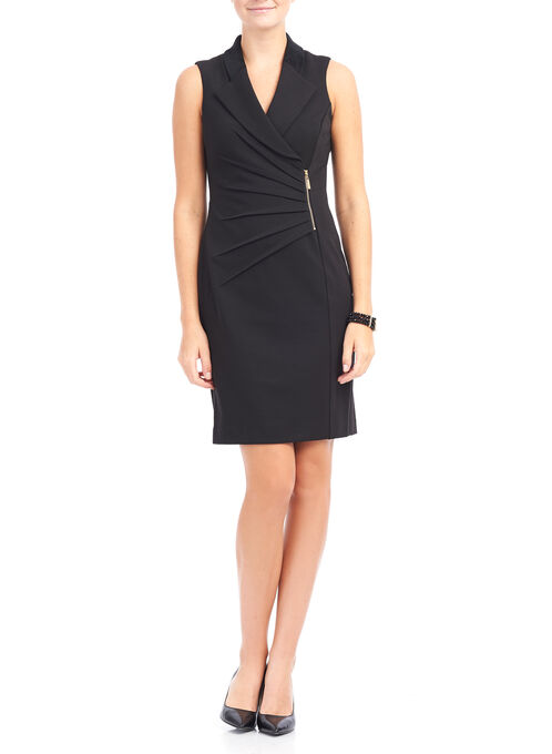 Ivanka Trump Notch Collar Dress, Black, hi-res