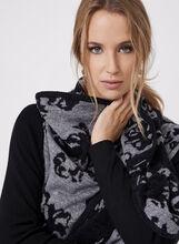 Double Knit Jacquard Shawl Cardigan, Black, hi-res