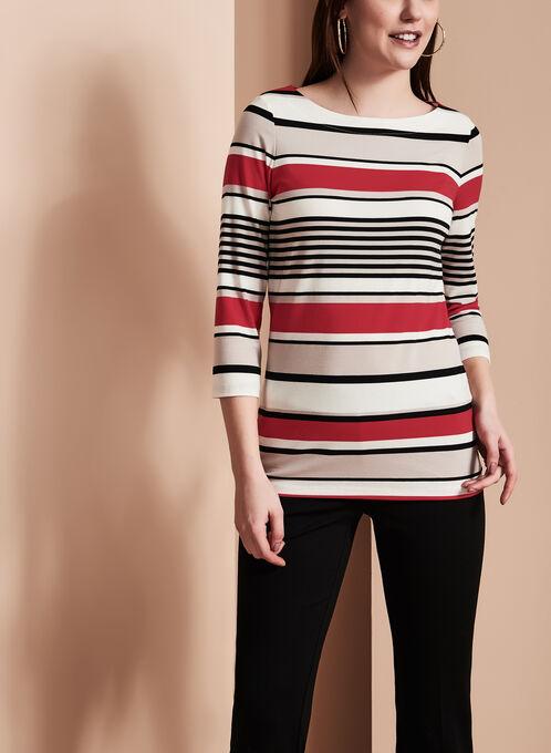 3/4 Sleeve Stripe Print Top, Red, hi-res
