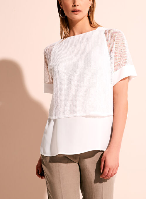 Conrad C Crochet Popover Blouse , Off White, hi-res
