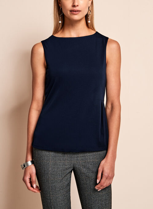 Side Pleated Jersey Top, Blue, hi-res