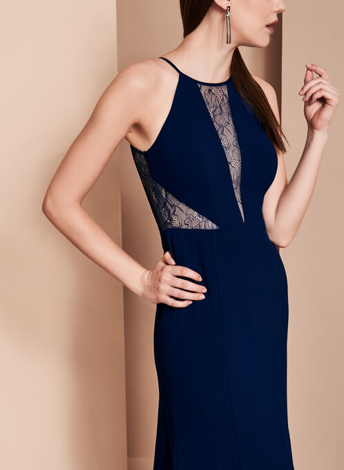 Crepe Halter Neck Gown, Blue, hi-res