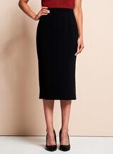 Louben Side Slit Pencil Skirt , Black, hi-res