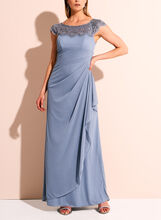 Cap Sleeve beaded Trim Evening Gown, , hi-res