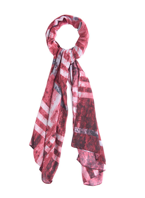 Jacquard Plaid Print Scarf, Red, hi-res