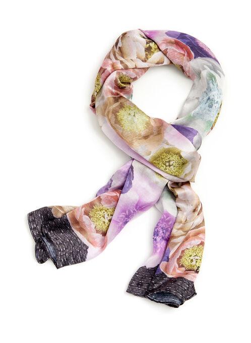 Foulard oblong à motif floral, Rose, hi-res