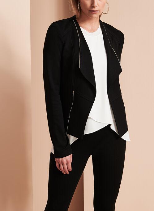 Blazer Vex en tricot drapé et détails zips, Noir, hi-res