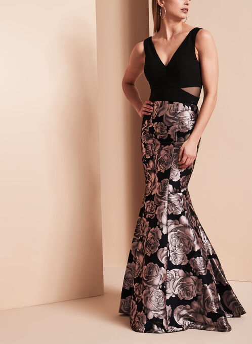 BA Nites Rose Print Gown, Black, hi-res
