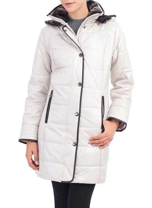 Fen-Nelli Quilted Faux Down Coat, Off White, hi-res