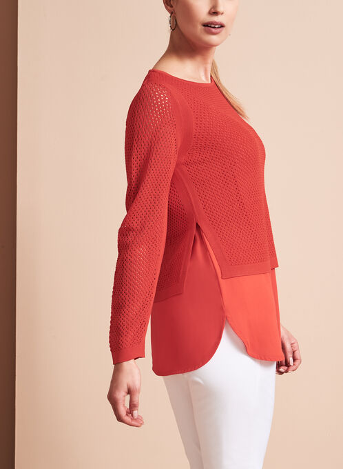Double Layer Pointelle Knit Sweater, Orange, hi-res