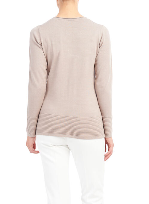 Long Sleeve Knit Sweater, Brown, hi-res