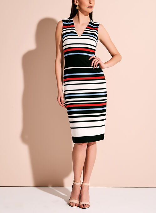 Maggy London - Stripe Print Midi Dress, Multi, hi-res
