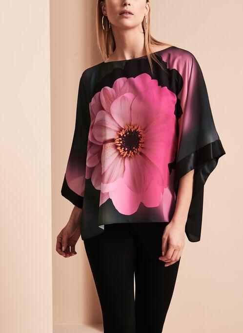 Blouse kimono à fleurs Frank Lyman, Noir, hi-res
