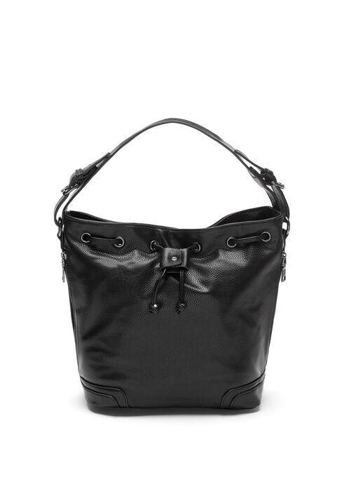 Faux Leather Bucket Handbag, Black, hi-res