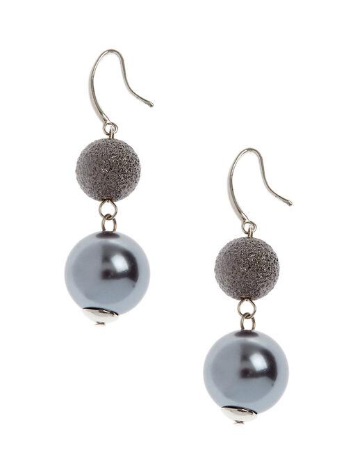 Two-Tone Dangle Earrings, Grey, hi-res