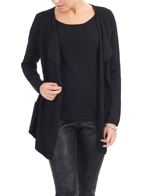 Knit Rhinestone Trim Fooler Sweater, Black, hi-res