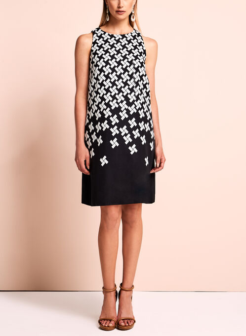 Tahari - Sleeveless Geometric Print Dress, Black, hi-res
