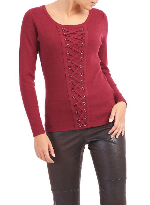 Grommet Detail Knit Top , Red, hi-res