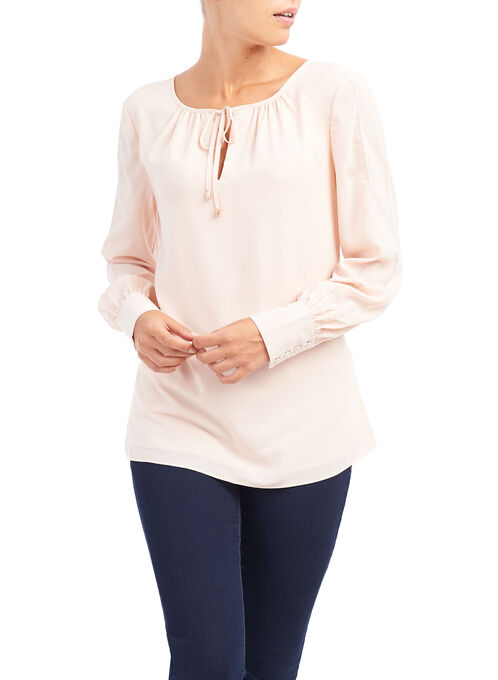 Long Sleeve Tie Front Blouse, Pink, hi-res