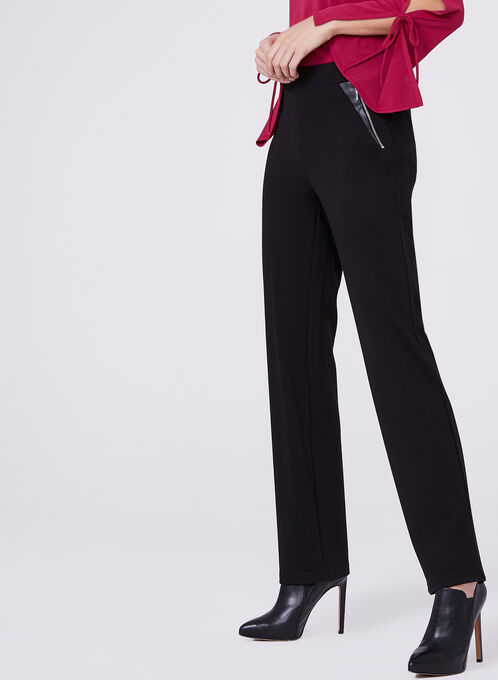 Ponte & Faux Leather 7/8 Pants , Black, hi-res